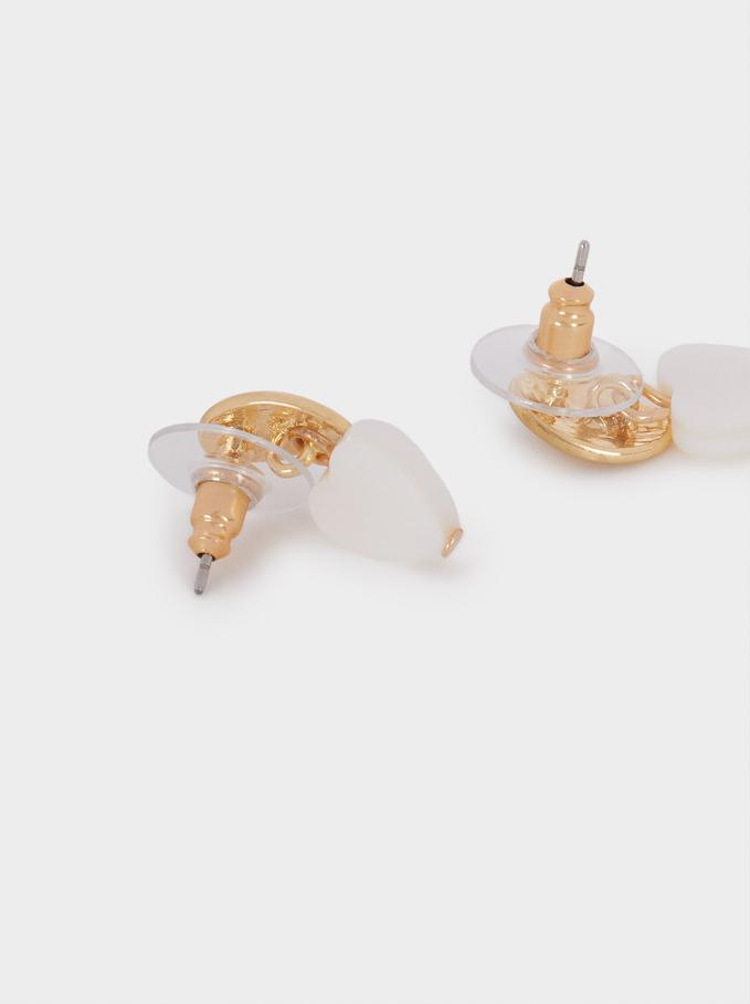 Boucles D'Oreilles Courtes En Forme De Cœur , Doré, hi-res