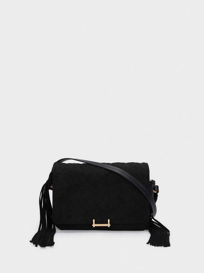 Faux Suede Crossbody Bag With Fringe Details, Black, hi-res