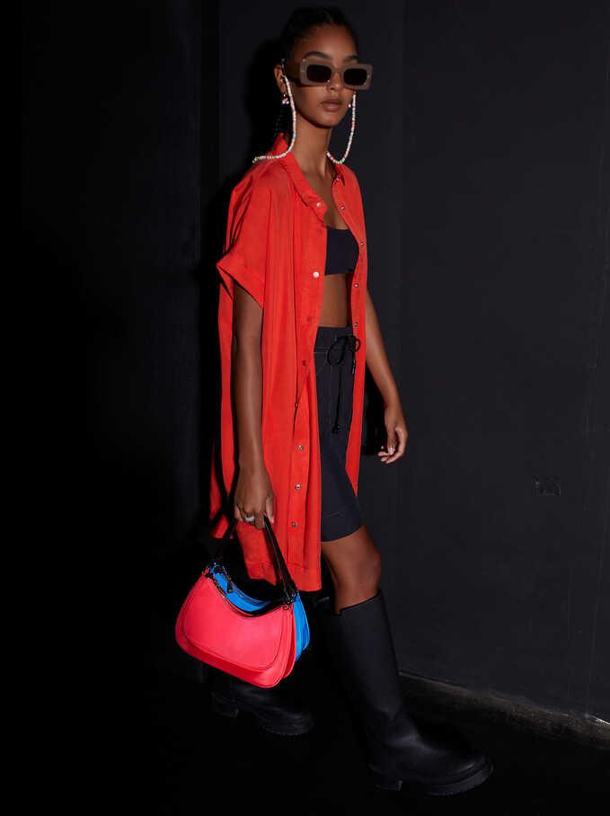 Lyocell Shirt Dress, Red, hi-res