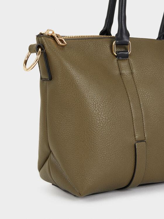 Faux Leather Tote Bag, Khaki, hi-res