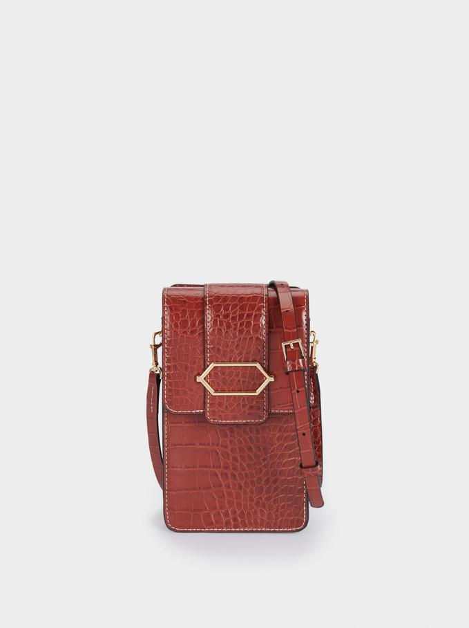 Embossed Mobile Phone Bag With Shoulder Strap, Brick Red, hi-res