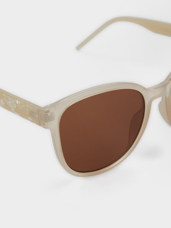 Sunglasses With Resin Frame, Ecru, hi-res