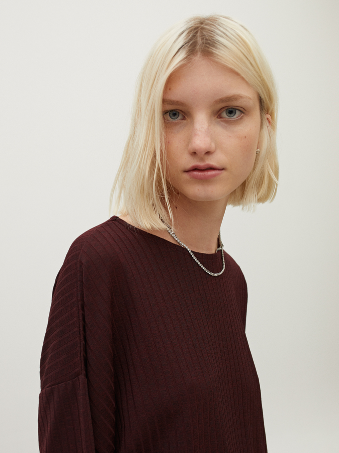 T-Shirt With Round Collar, Bordeaux, hi-res
