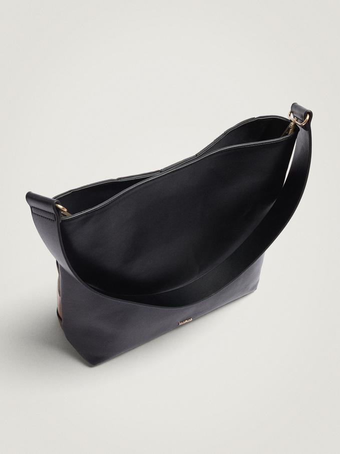 Patchwork Shoulder Bag With Shoulder Strap, Black, hi-res