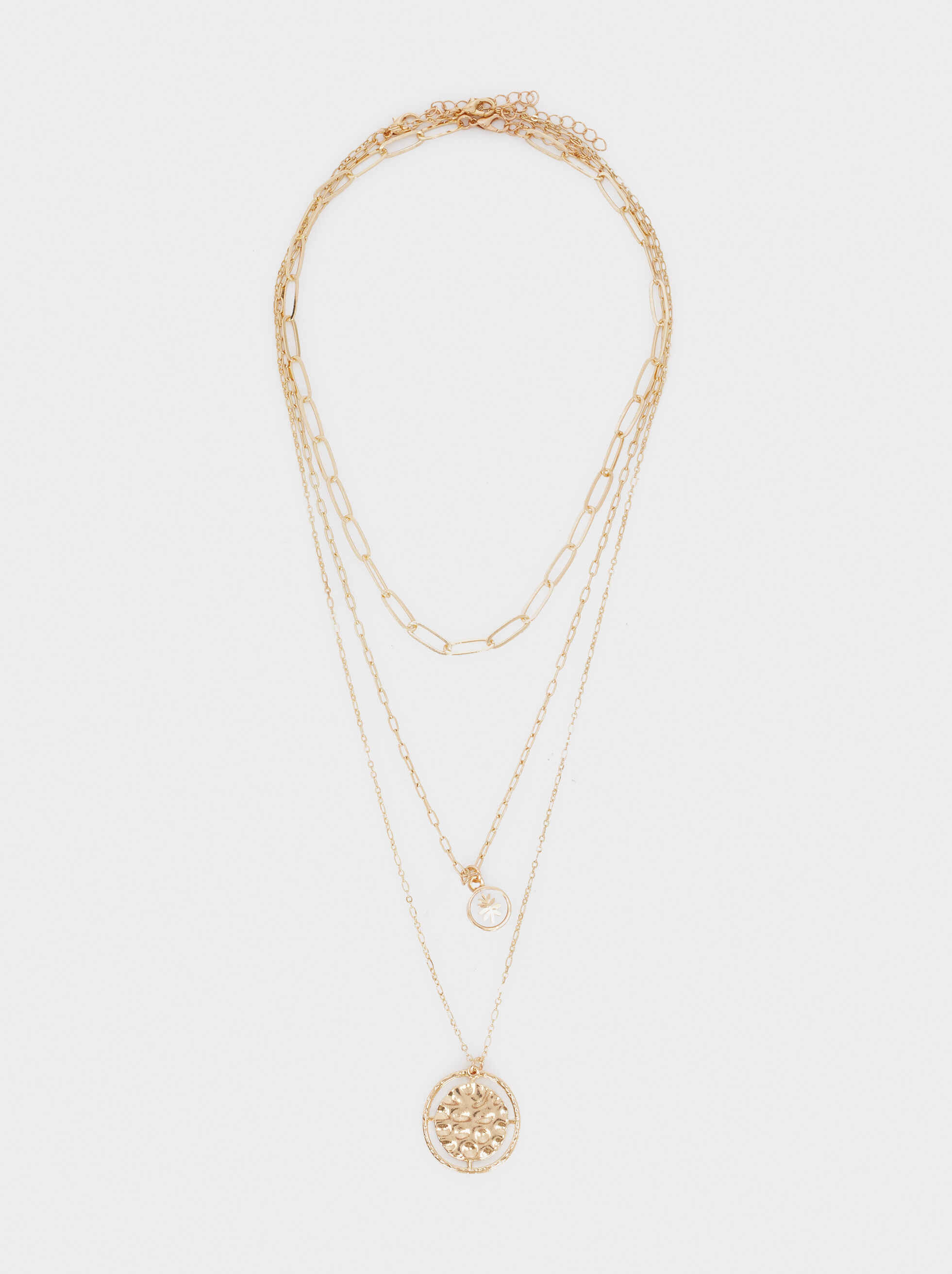 Short Gold Necklace With Medallion And Faux Pearl, Golden, hi-res