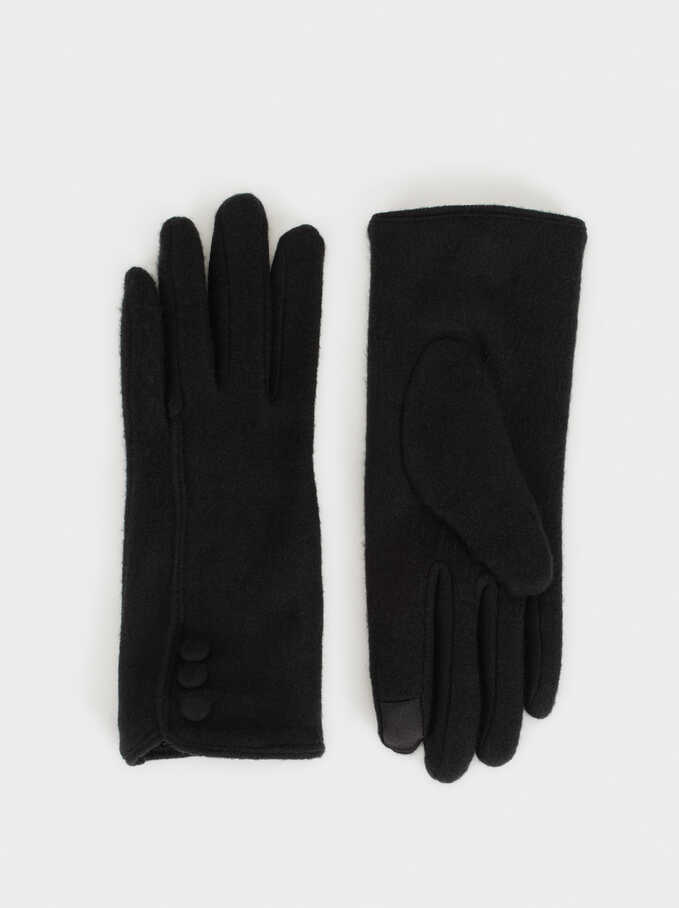 Gloves With Buttons, Black, hi-res