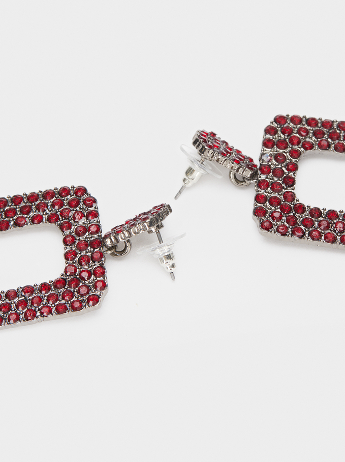 Long Earrings With Multicoloured Crystals, Bordeaux, hi-res