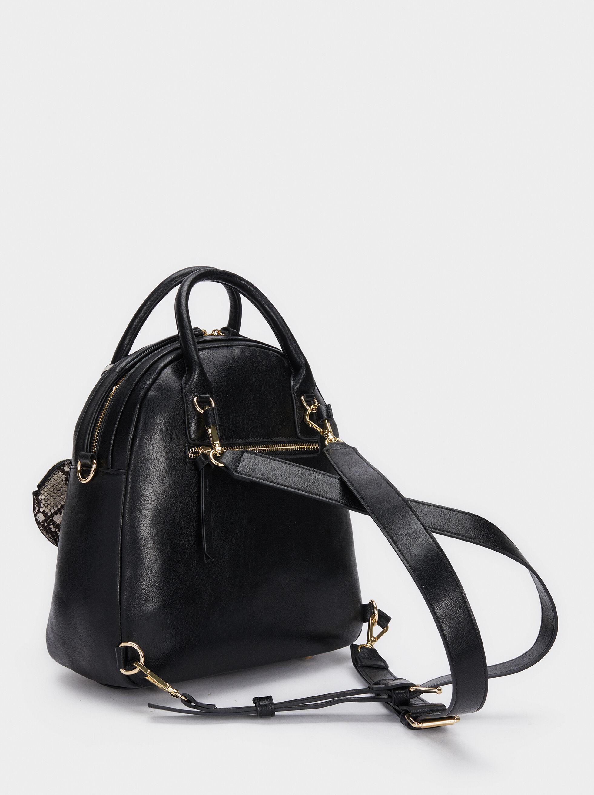 Backpack With Exterior Pocket, Black, hi-res