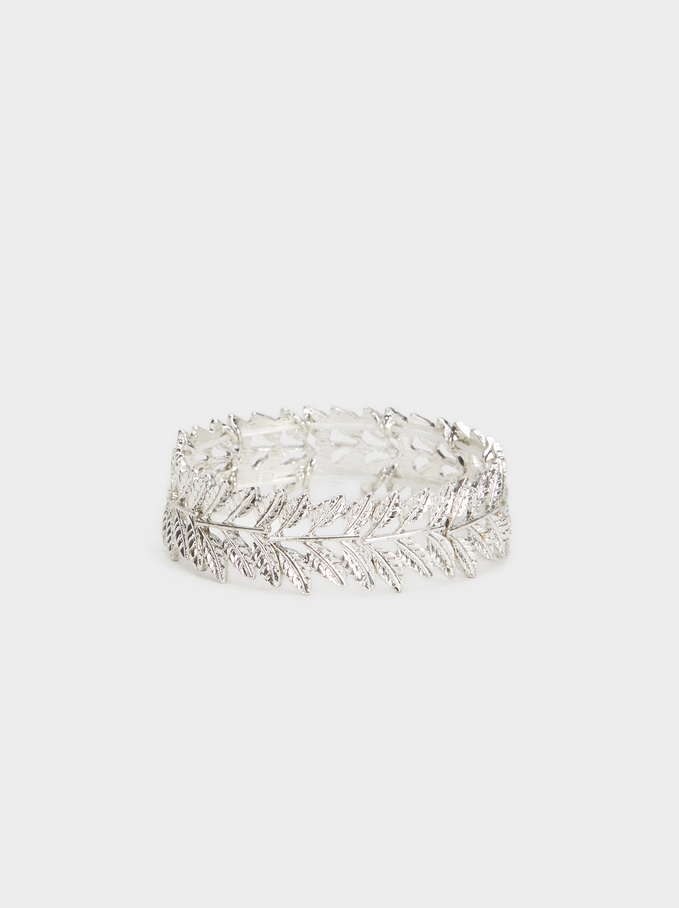Elasticated Leaf Bracelet, Silver, hi-res
