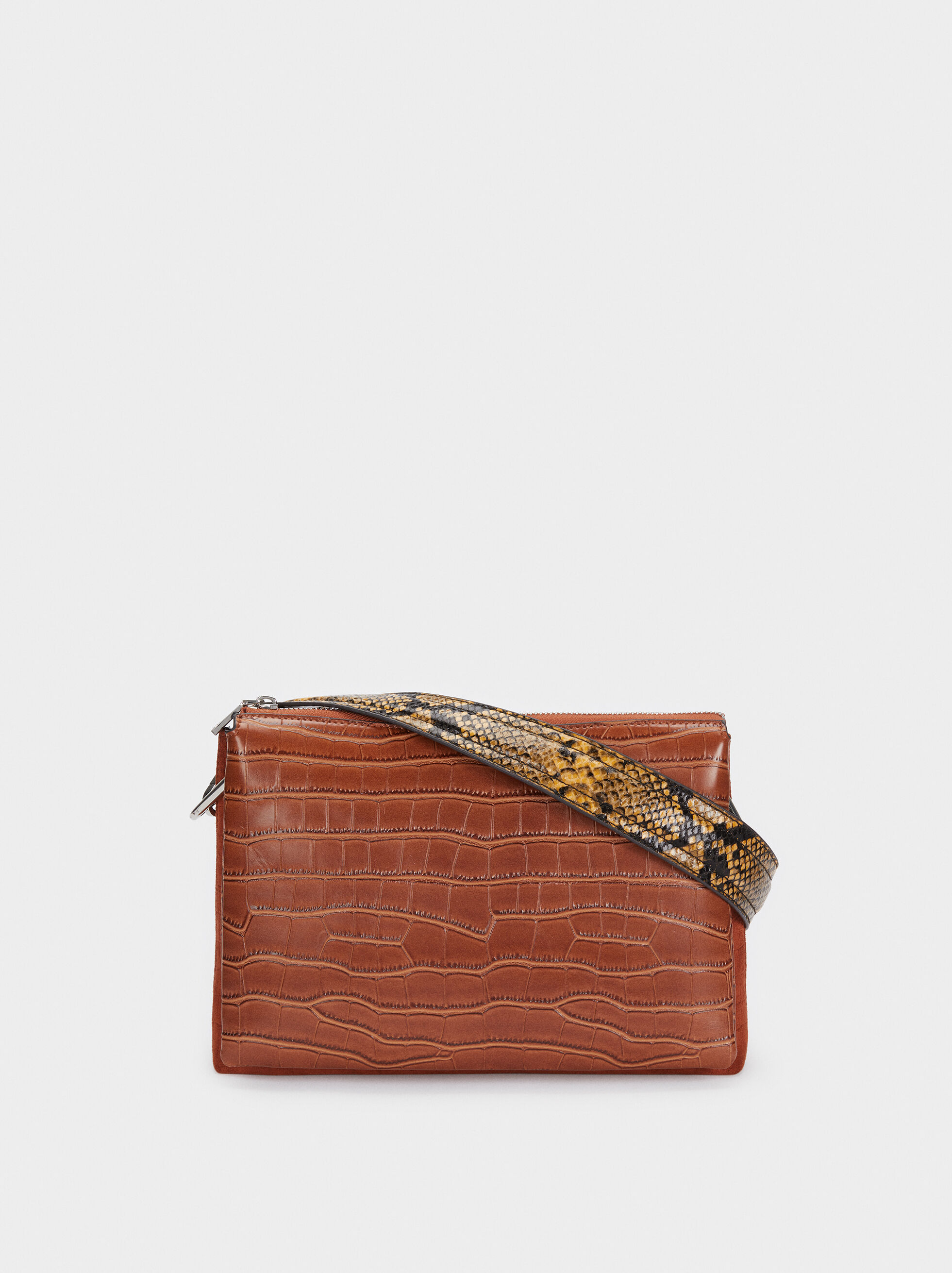 Crossbody Bag With Embossed Animal Print, Camel, hi-res