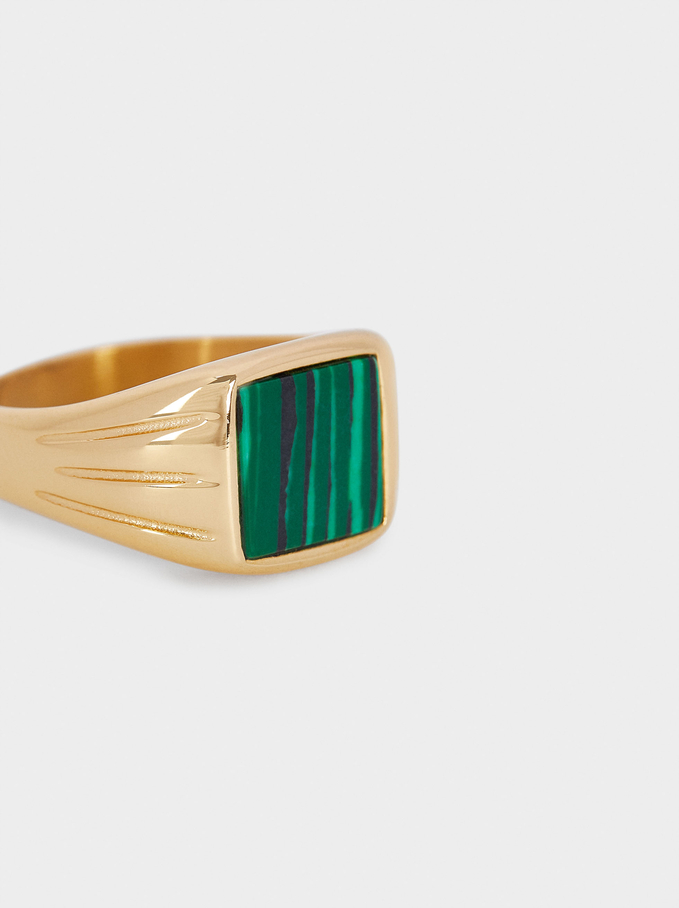 Stainless Steel Signet Ring With Stone, Green, hi-res