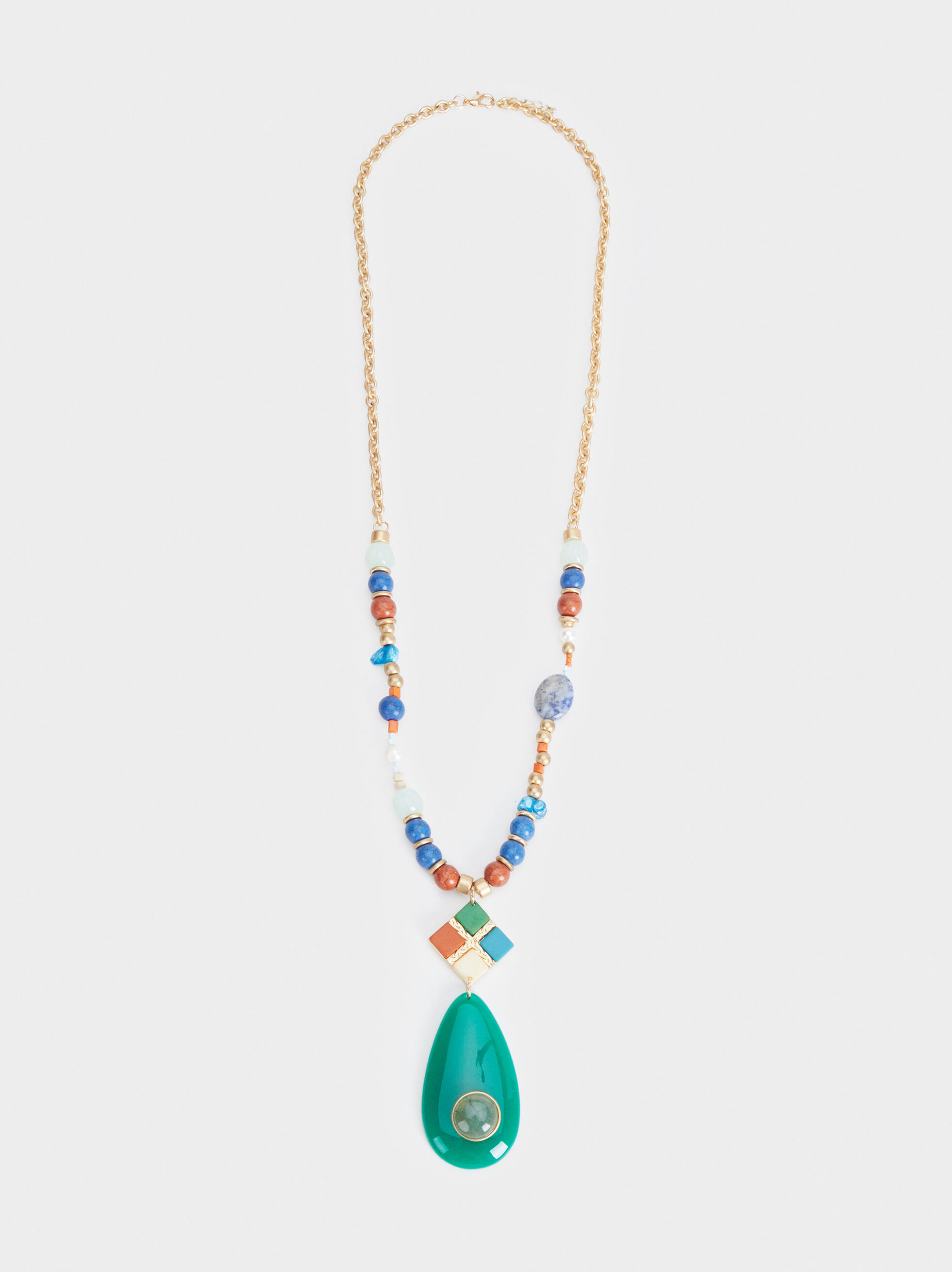 Zorba Long Necklace With Pendant, Multicolor, hi-res