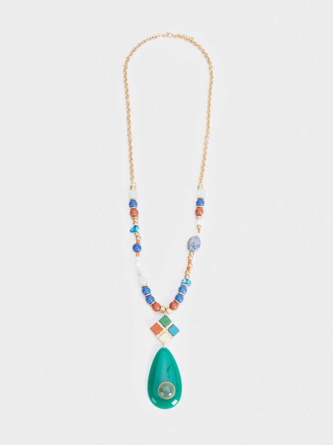 Zorba Long Necklace With Pendant, Multicolor, hi-res