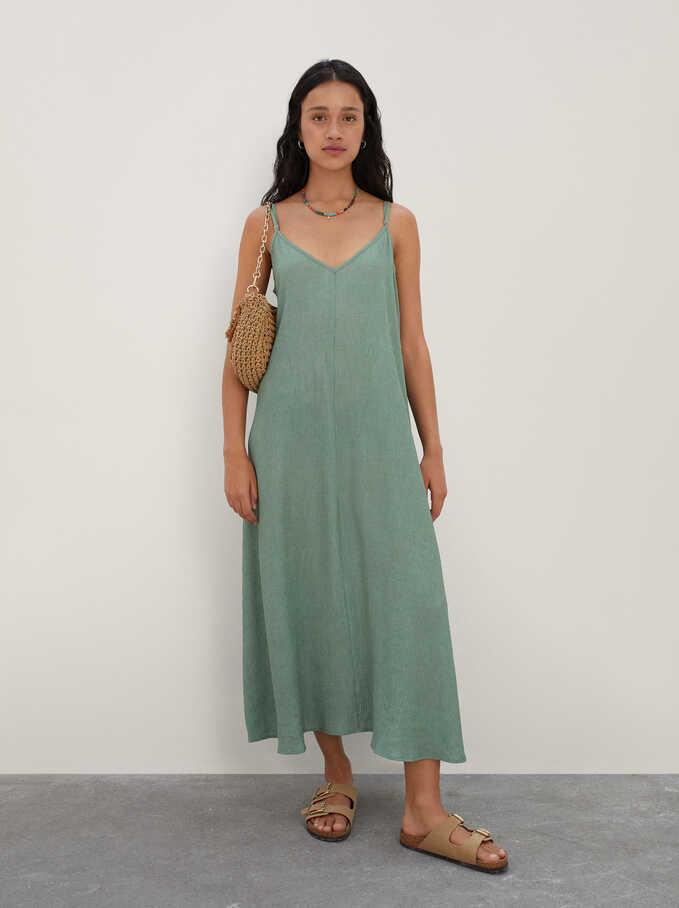 Long Strap Dress, Green, hi-res