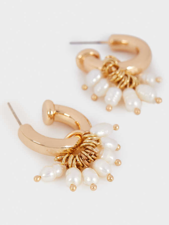 Short Gold Metal Earrings With Faux Pearl Detail, Golden, hi-res