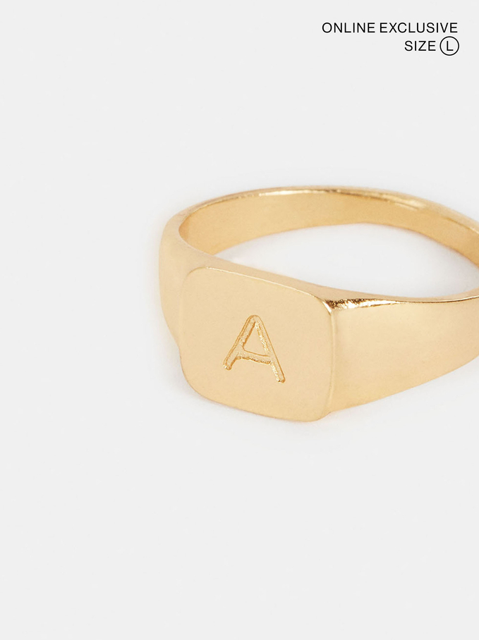 Signet Ring Size L, Golden, hi-res