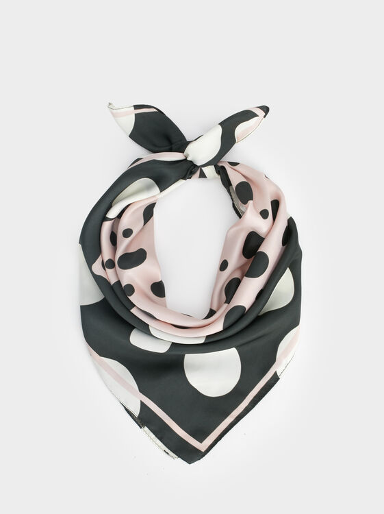 Heart Print Square Scarf, Multicolor, hi-res