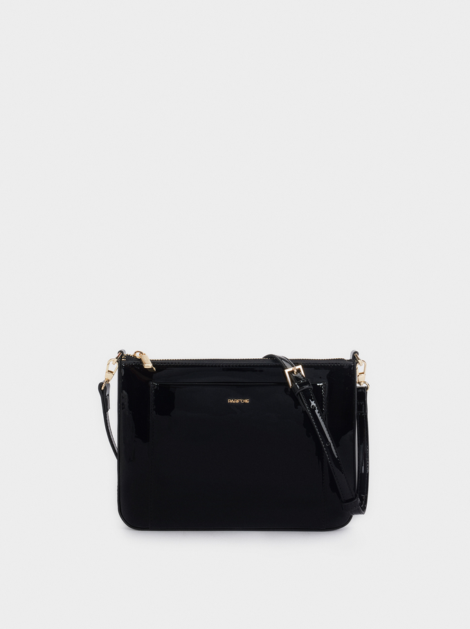 Patent Crossbody Bag, Black, hi-res