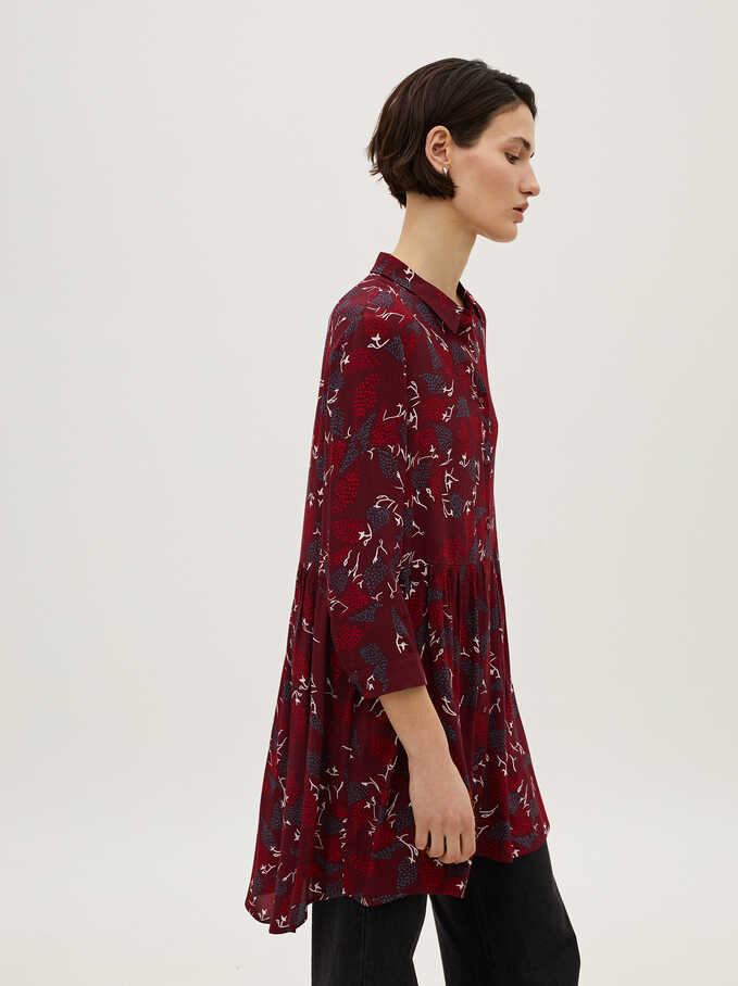Printed Shirt Dress, Red, hi-res