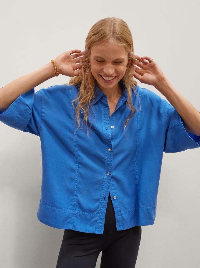Lyocell Oversized Shirt, Blue, hi-res