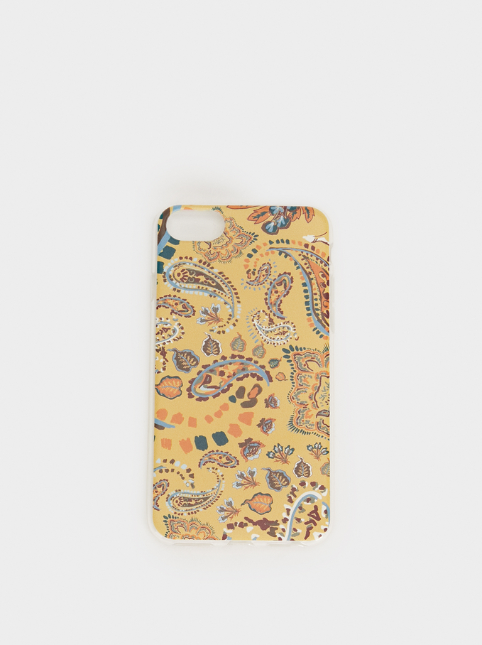 Paisley Print Iphone 6/7/8 Case, Yellow, hi-res
