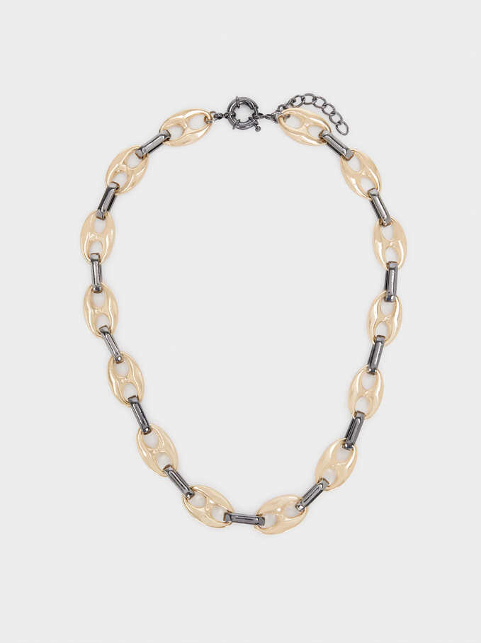 Short Chain Link Necklace, Multicolor, hi-res