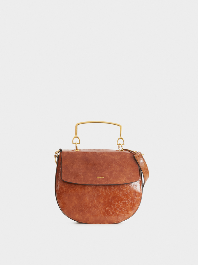Crossbody Bag With Metallic Handle, Camel, hi-res