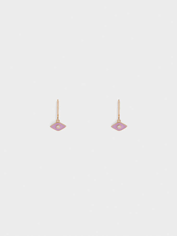 Small Eye Hoop Earrings, Violet, hi-res