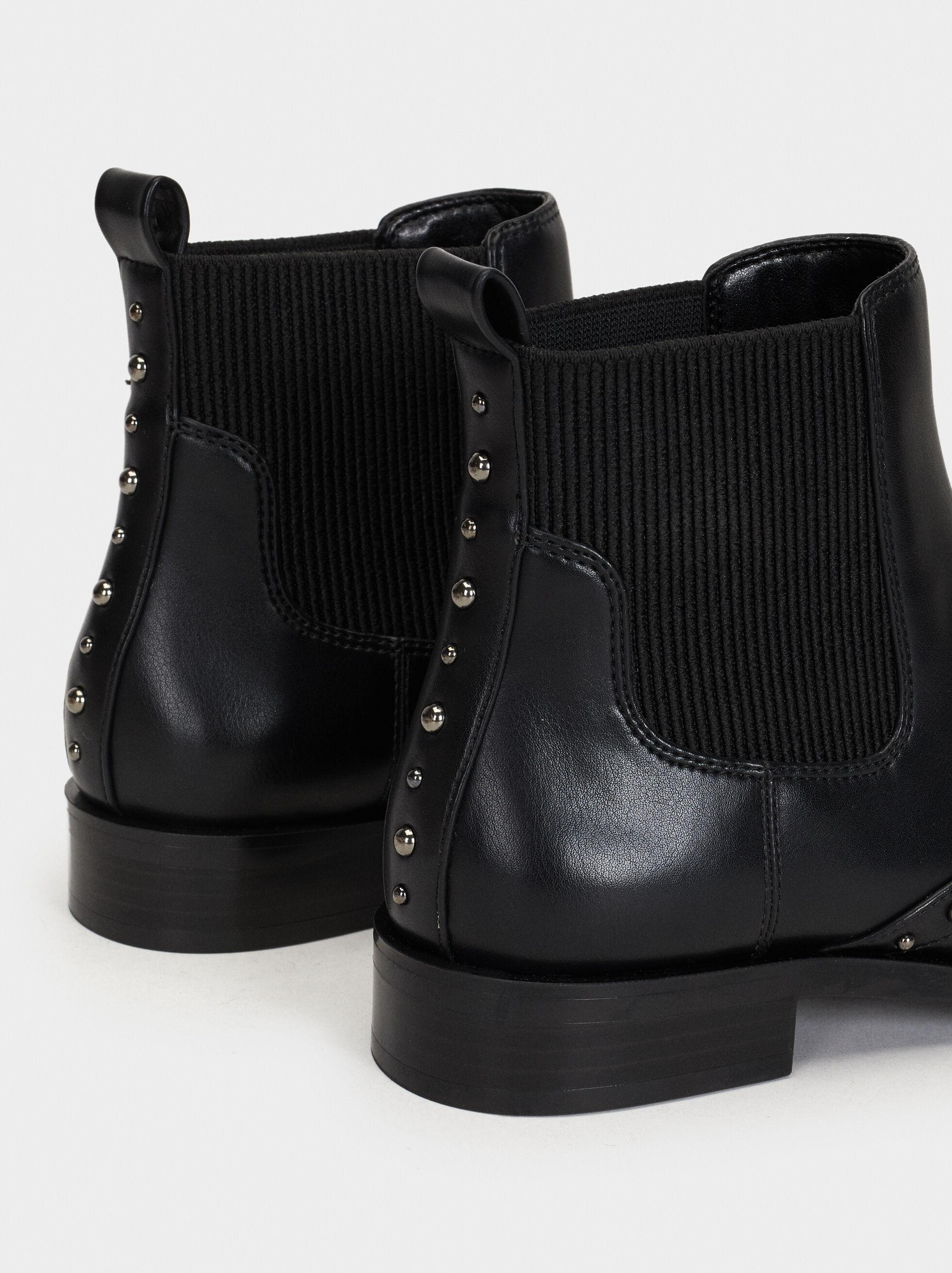 Studded Ankle Boots, Black, hi-res