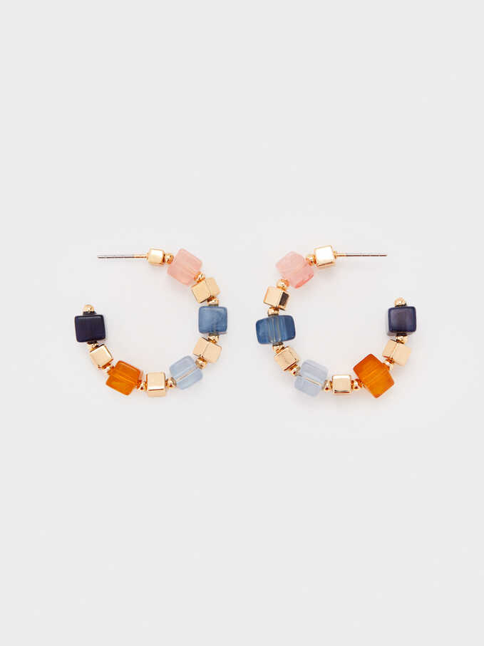 Small Multicoloured Resin Hoop Earrings, Multicolor, hi-res