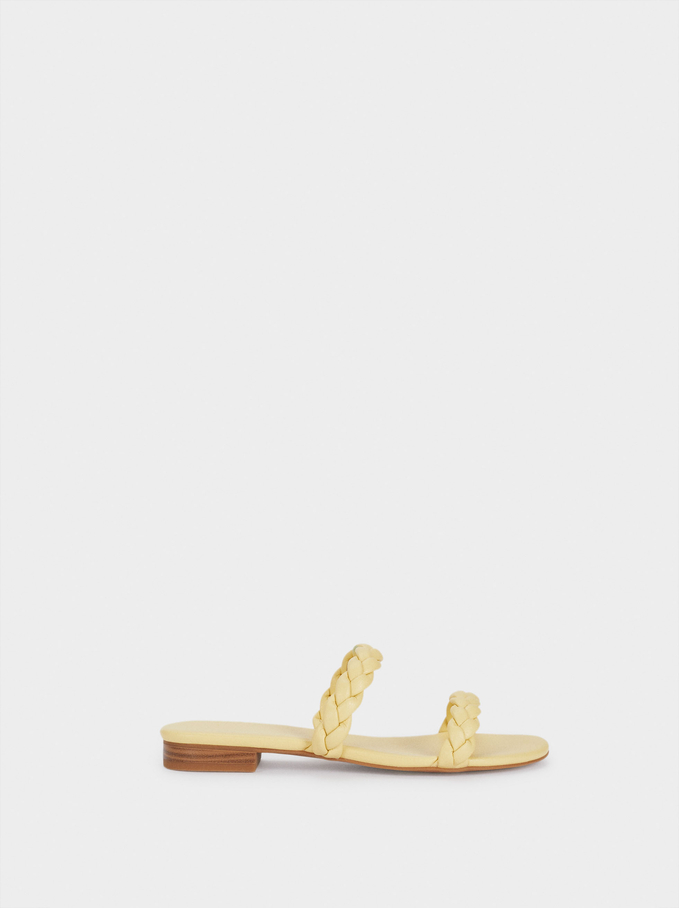 Flat Sandals With Braided Straps, Yellow, hi-res