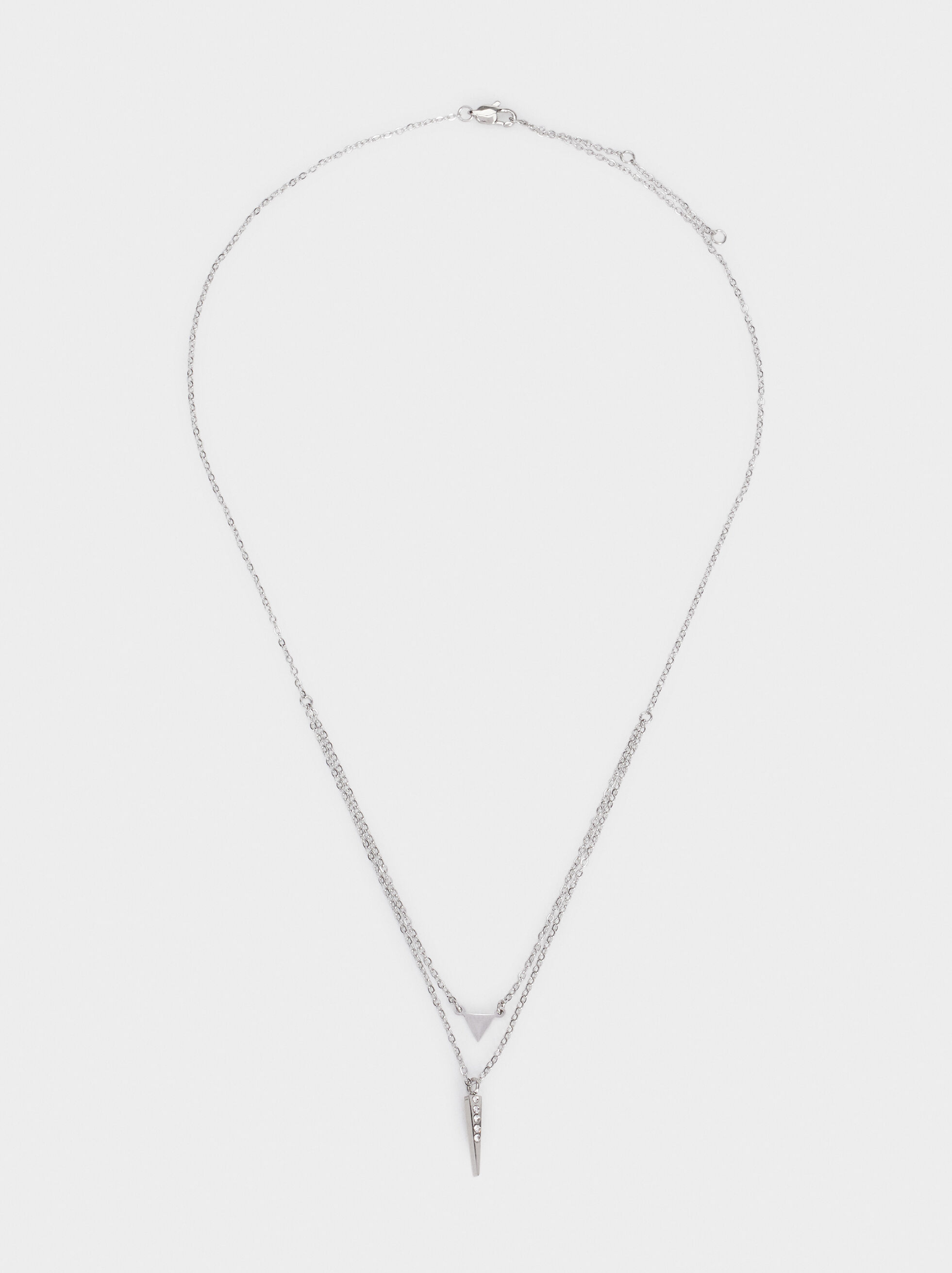 Stainless Steel Short Double Necklace, Silver, hi-res