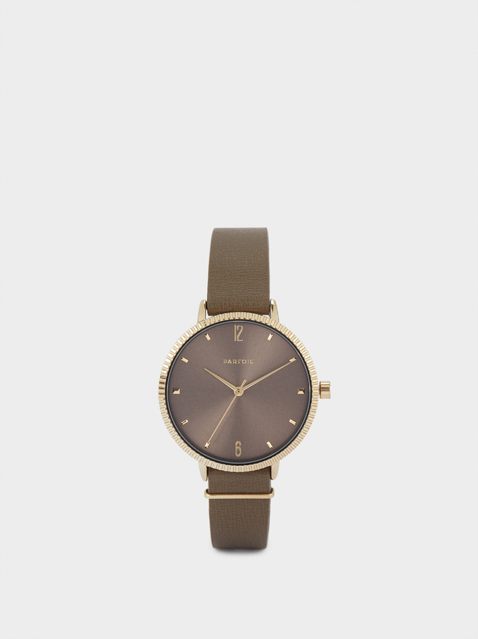 Watch With Textured Leather Wristband, Khaki, hi-res