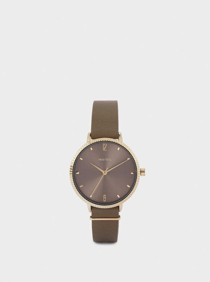 Reloj De Pulsera Textura Piel, Caqui, hi-res