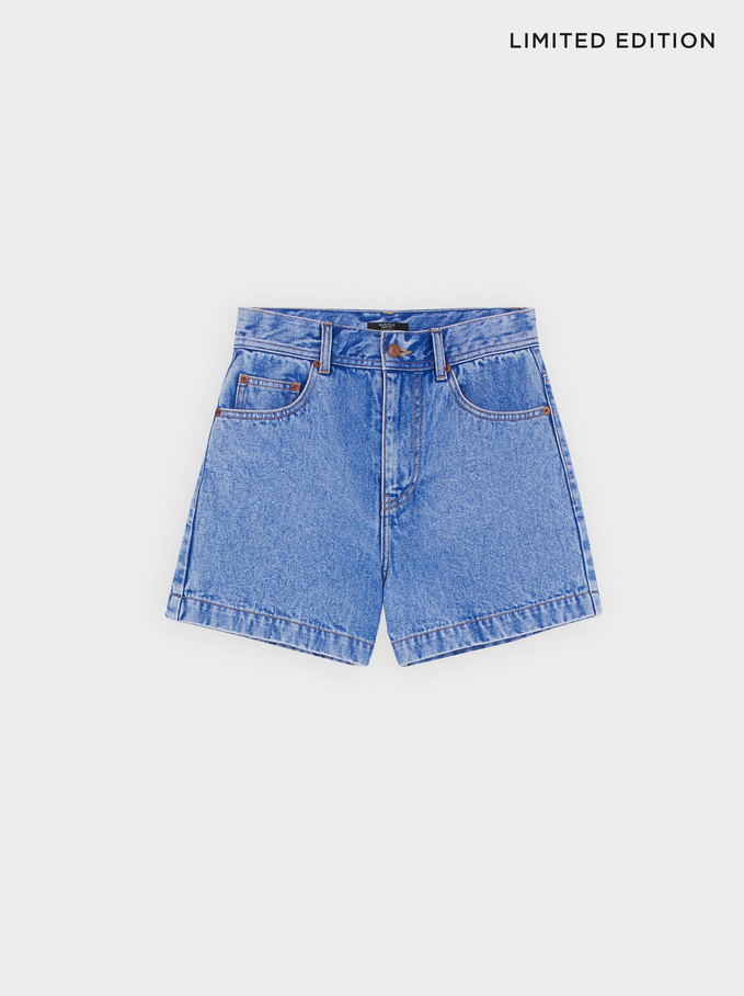 Limited Edition Denim Shorts, Blue, hi-res