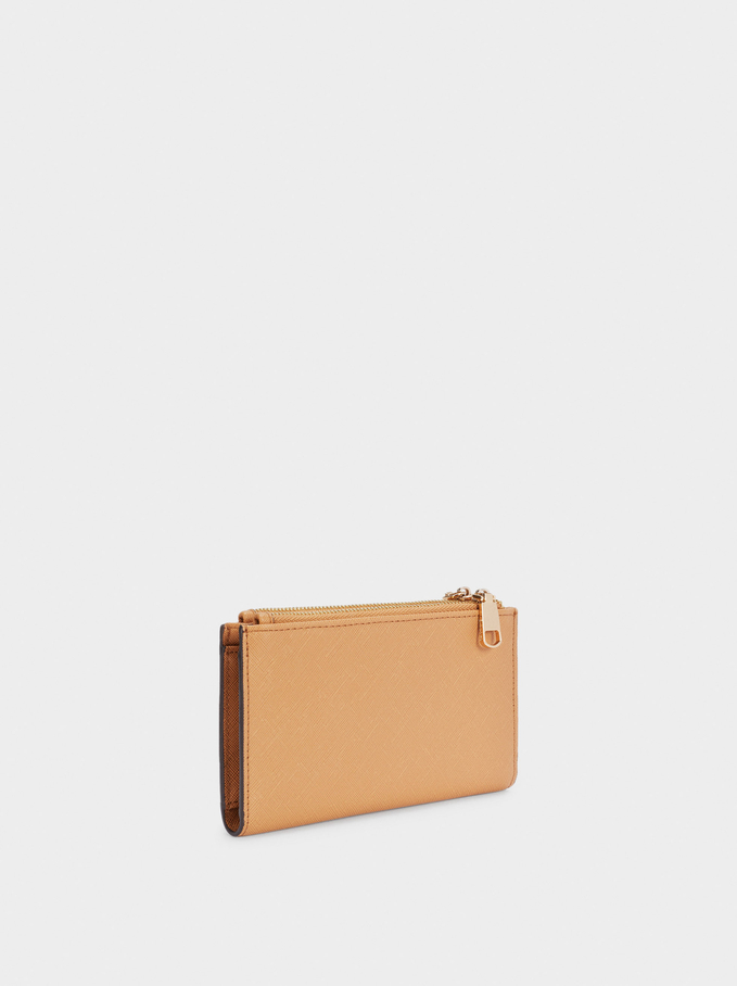 Plain Purse With Zip Fastening, Camel, hi-res