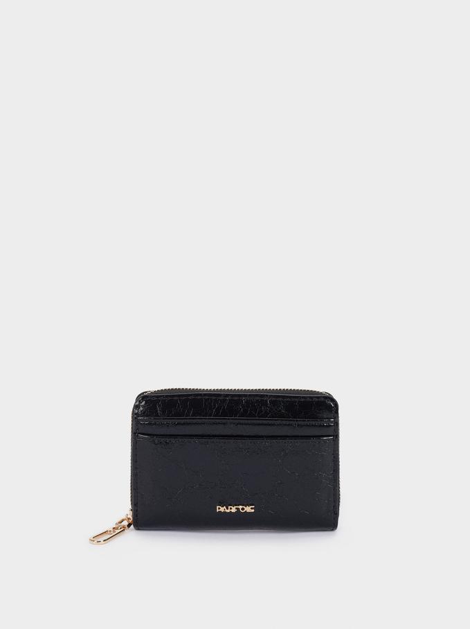 Plain Compact Purse, Black, hi-res