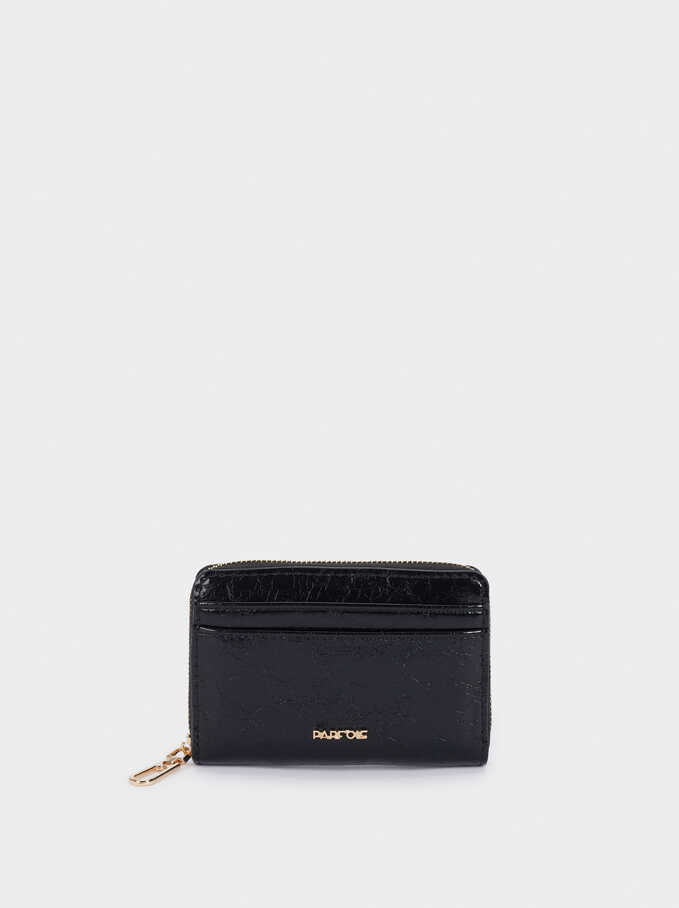 Plain Compact Purse, Black, hi-res