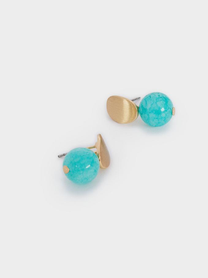 Stone Stud Earrings, Blue, hi-res