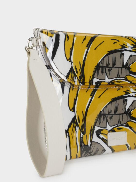 Printed Toiletry Vinyl Bag, Yellow, hi-res
