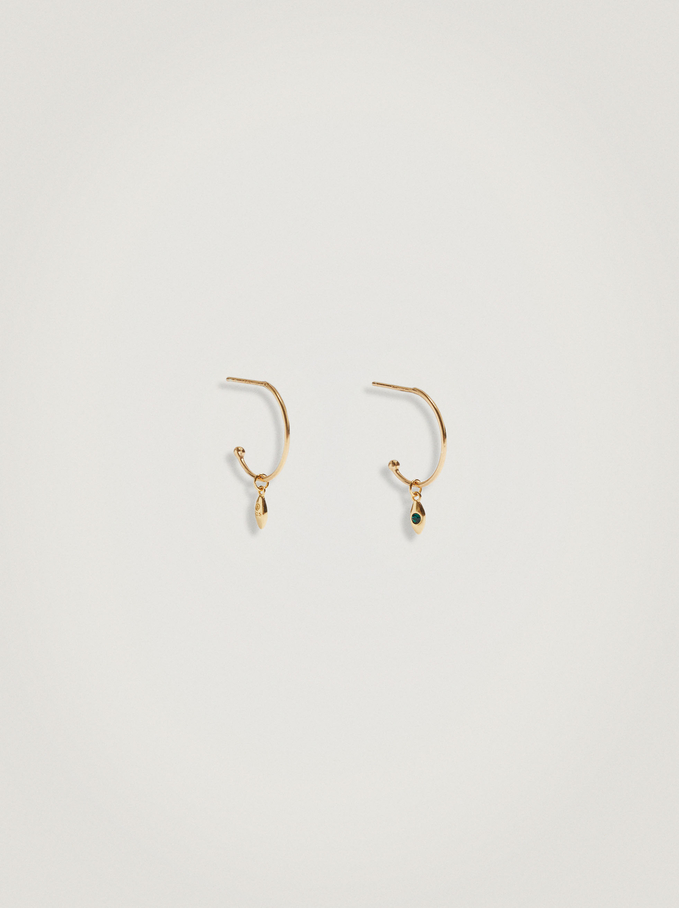 925 Sterling Silver Small Hoops With Stone, Green, hi-res