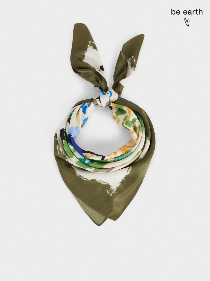 Printed Square Neckerchief Made From Recycled Materials, Green, hi-res