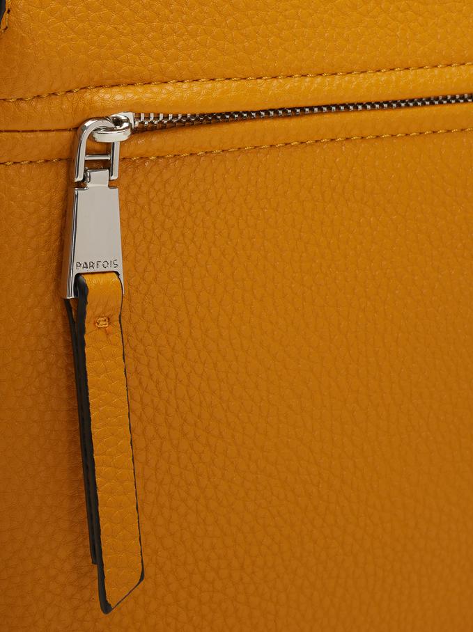 Shoulder Bag With Outer Pocket, Mustard, hi-res