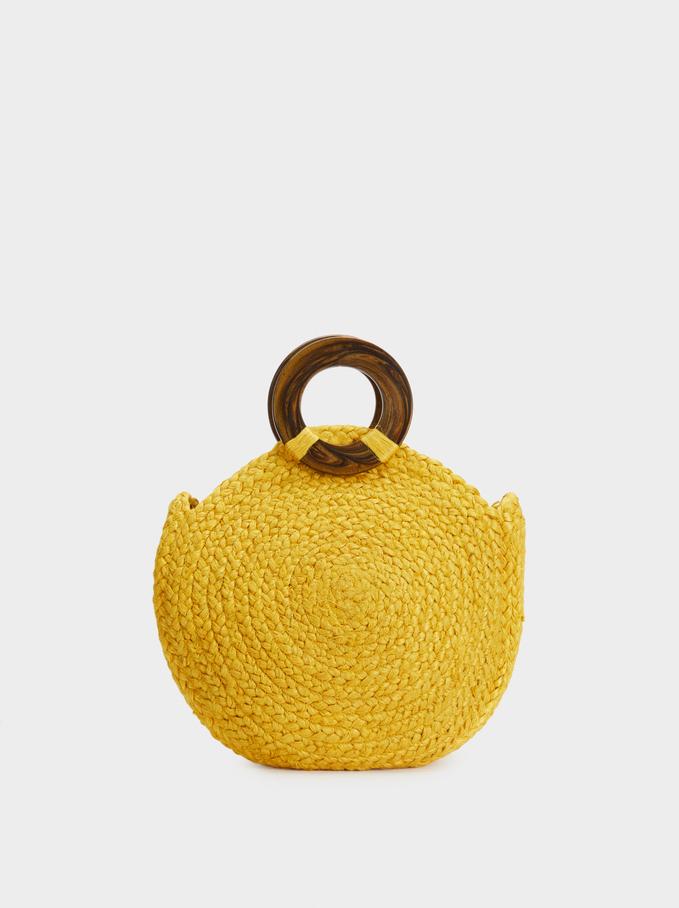 Straw Tote Bag , Yellow, hi-res
