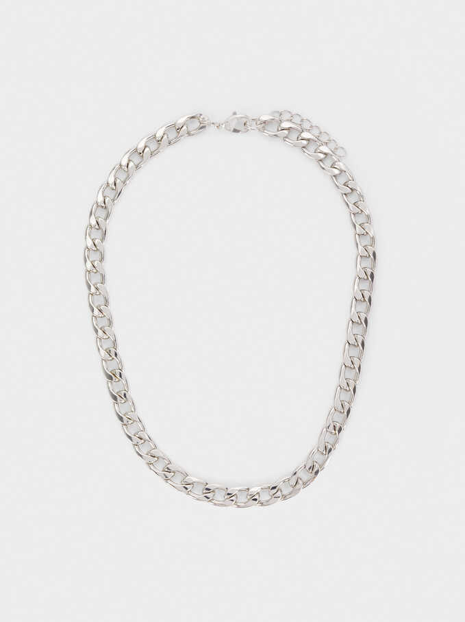 Short Silver Chain Necklace, Silver, hi-res