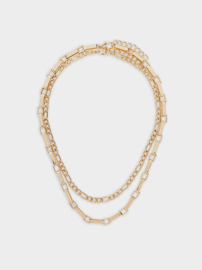 Set Of Golden Contrasting Necklaces, Golden, hi-res