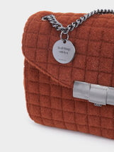 Quilted Crossbody Bag, Brick Red, hi-res