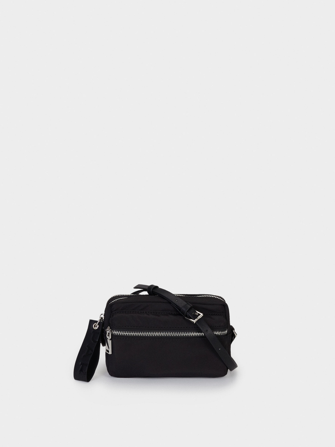 Nylon Crossbody Bag With Outer Pocket, Black, hi-res