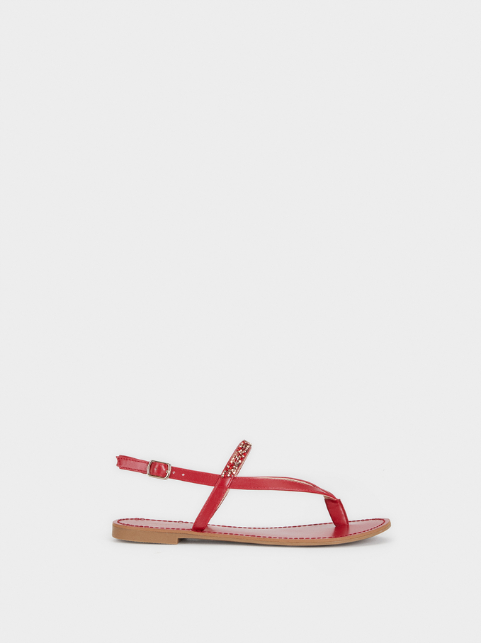 Flat Sandals With Bejewelled Strap, Red, hi-res