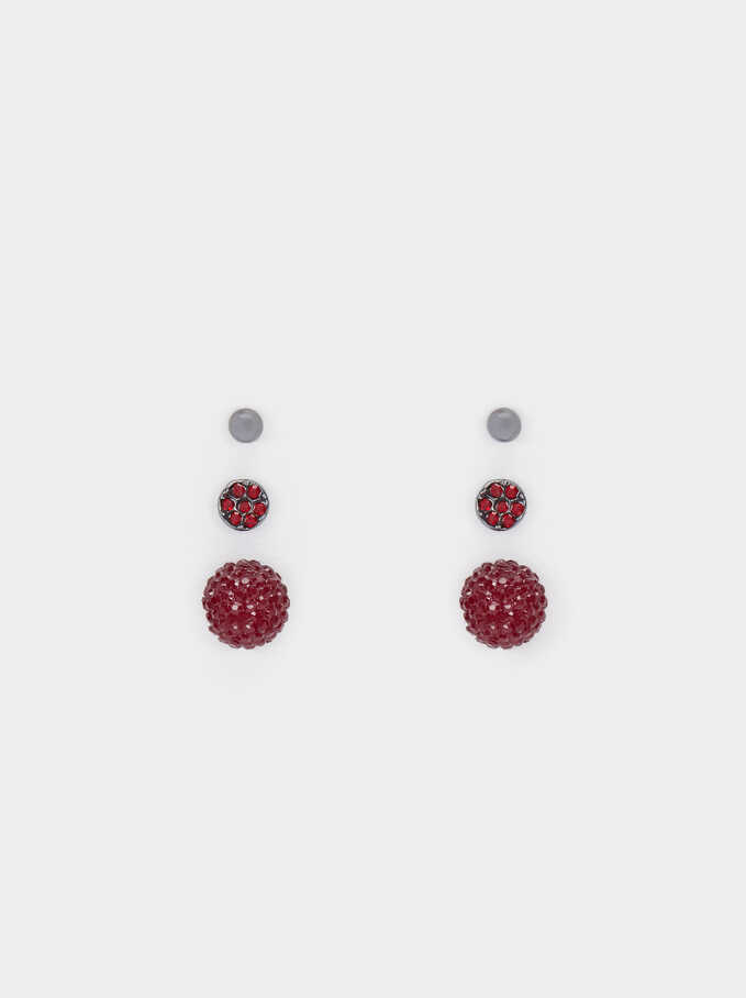 Set Of Earrings With Crystals, Bordeaux, hi-res
